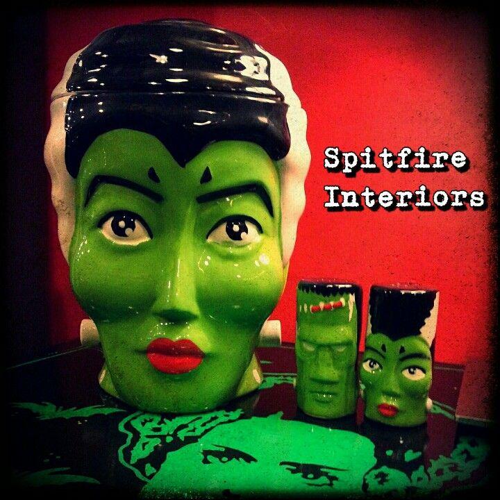Bride of Frankenstein Cookie Jar Bride & Frankie S &P Shakers.