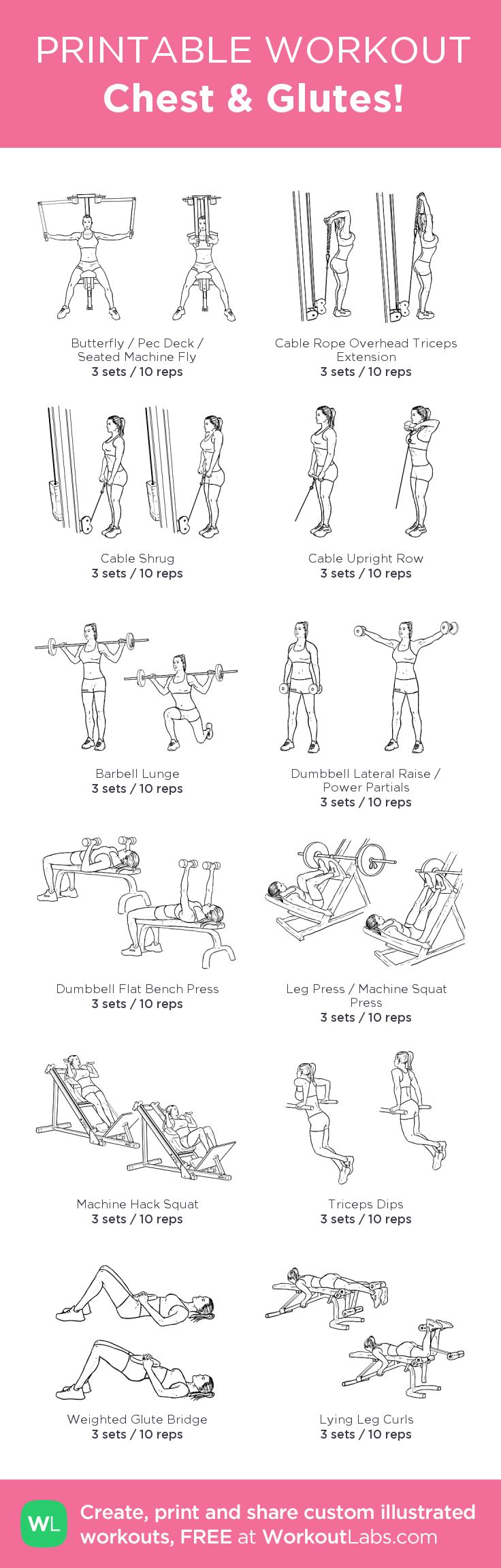 Chest & Glutes!: my visual workout created at WorkoutLabs.com • Click through to customize and download as a FREE PDF! #customworkout