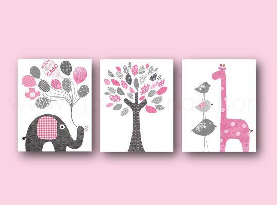 Bébé fille pépinière Decor rose gris Nursery Art éléphant