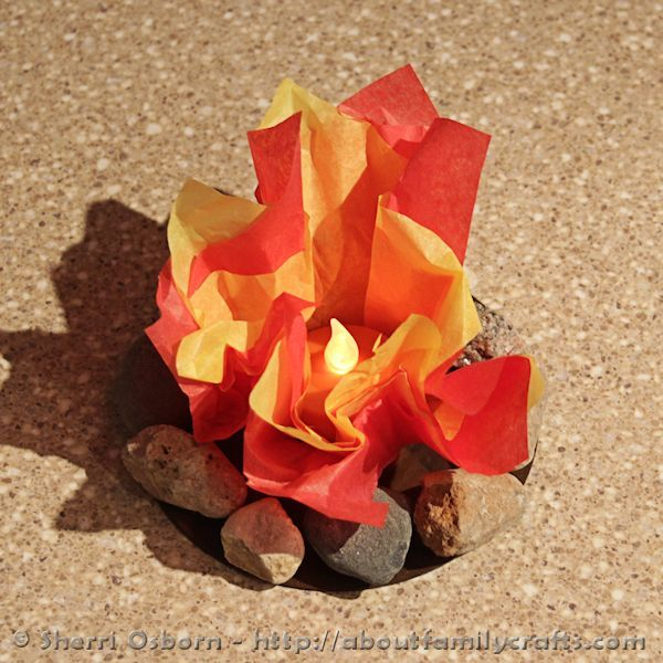 How to Glue Tissue Paper Flames to CD Campfire Base