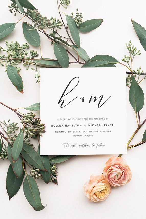 Minimalist Wedding Save The Date Cards Template Download Editable