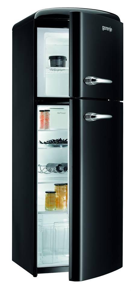 RF60309OBK - Retro Black Freestanding Fridge Freezer