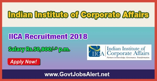 IICA Recruitment 2018 - Hiring Senior Research Associate and Research Associate Posts, Salary Rs.50,800/- : Apply Now !!!  The Indian Institute of Corporate Affairs – IICA Recruitment 2018 has released an official employment notification inviting interested and eligible candidates to apply for the positions of Senior Research Associate and Research Associate. The eligible candidates may apply to the posts in the prescribed format available in official website or in the of