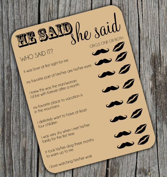He Said She Said Bridal Shower Activity Game on Kraft Brown Paper Set of 24