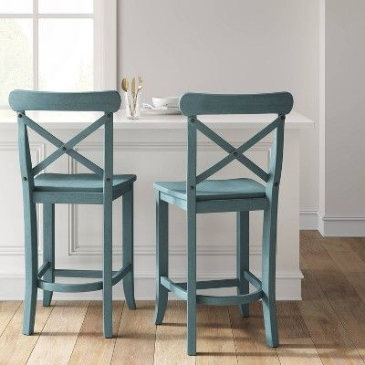24 Litchfield X Back Counter Stool Teal Threshold Counter