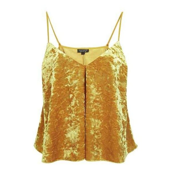 TopShop Velvet Swing Ochre Cami Top (£25) ❤ liked on Polyvore featuring tops, topshop, brown camisole, brown cami, strappy cami and velvet camisole