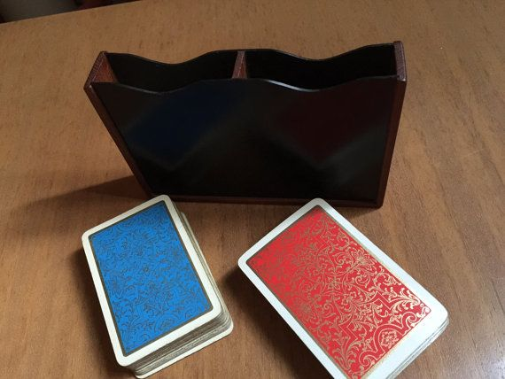 Vintage teak card double deck card box Scandinavian by qvirky