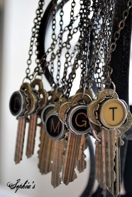 Typewriter Keys with letters hung on a chain as a necklace.