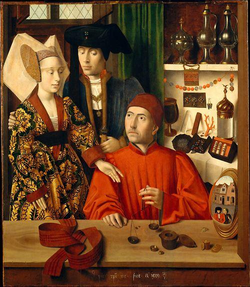 San Eligio como Goldsmith por Petrus Christus, 1449 los Países Bajos, el Museo Met    El hombre de pie y la mujer están comprando un anillo de bodas, que está siendo pesado en esa escala pequeña