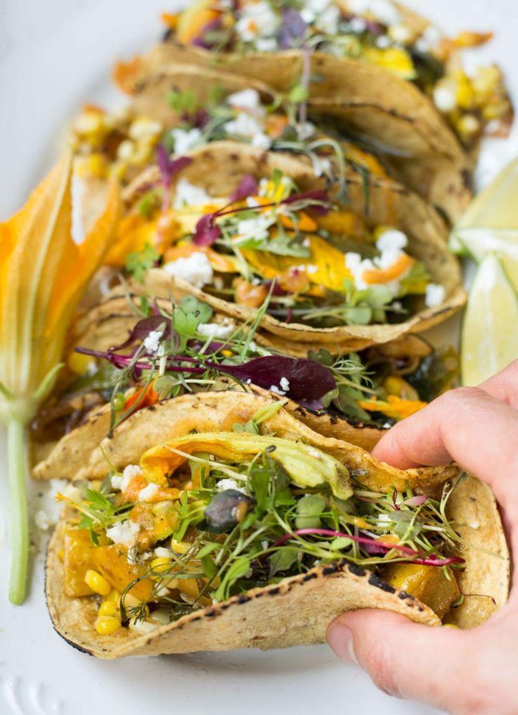 Squash, Corn, Roasted Poblano & Squash Blossom Tacos