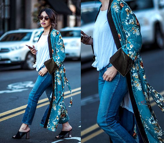 Get this look: http://lb.nu/look/8616367  More looks by Francesca Felix: http://lb.nu/frankvinyl  Items in this look:  Zara Kimono Robe, 7 For All Mankind Cropped Blue Jeans, Topshop Black Mules   #bohemian #chic #street #fvstylingtips