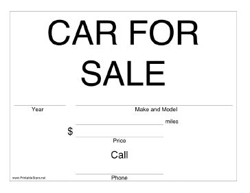 This printable care for sale time has room to write in the year, make and model, mileage, price, and contact information. Free to download and print