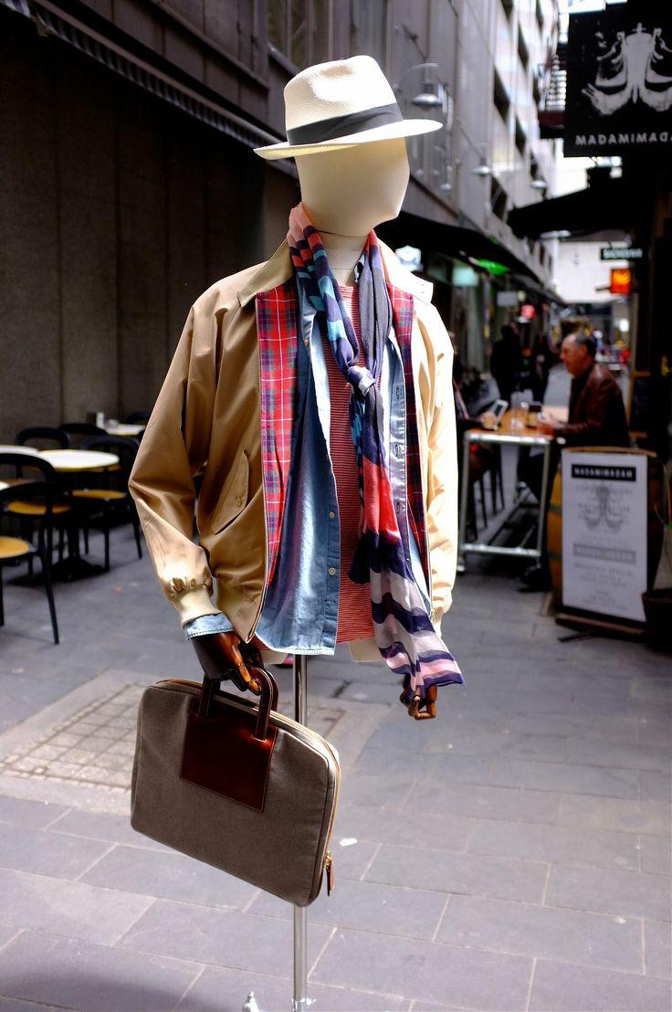 What we're wearing: Early December 2013 - Melbourne  Introducing Paul Smith to Henry Bucks!  Paul Smith Shirt + T-shirt + Scarf -  Baracuta Jacket - La Portega Briefcase - Christy's Hat. #menswear #mensfashion