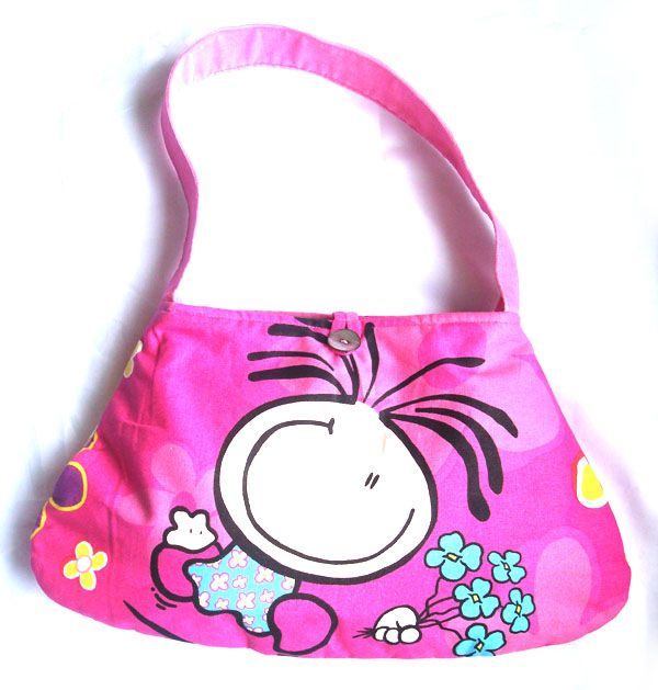 Designer Handmade Bags - Bubblegum Petite AUD39.90 This is a cute piece that you must have. It features bubblegum girl on both sides with pink velvetry strap. Its has 2 cellphone compartments and a zipper pocket inside. This is handmade and we only made 1 piece with this design. So this is the exact piece that you will be buying.   Dimensions: 40cm widest X 24cm tall (excluding straps), Strap is 22cm from the centre http://www.imusthavethat.com.au/pd_bubblegum_petite.cfm