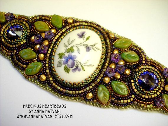 Bead Embroidery Bracelet Cuff Gold bead embroidered - Violet Cuff -  fashion - OOAK on Etsy, $125.00