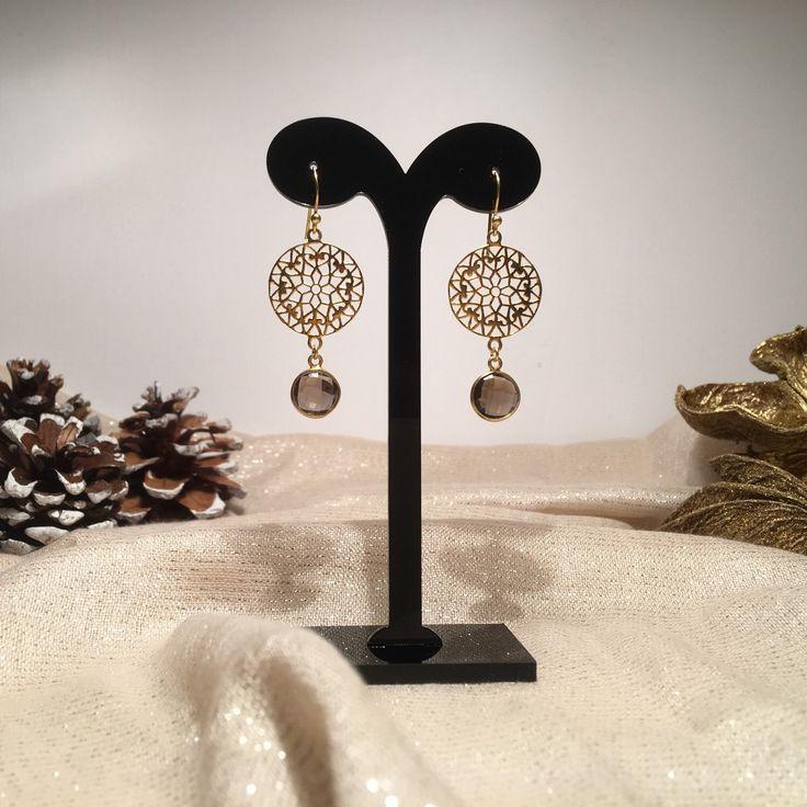 Chique silsjewels  edelsteen oorbellen met smoky quartz , sterling zilver (925) 22k vermeil (goud op zilver)