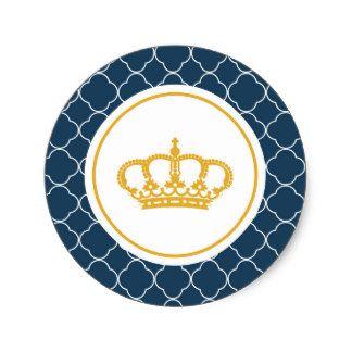 Príncipe pequeno Coroa Etiqueta dos azuis marinhos Adesivo