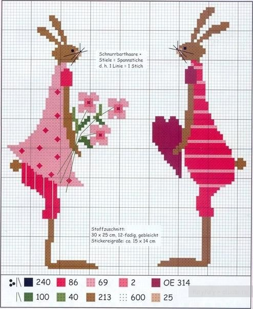 Схема вышивки крестиком - зайцы