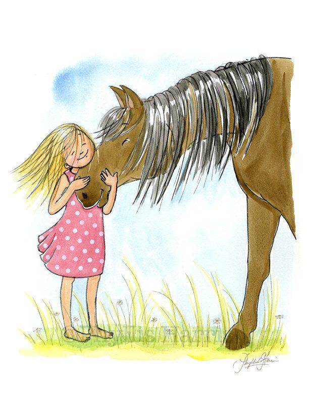 Bambini Wall Art Print - l'amore di una ragazza e il suo cavallo - ragazza camera arredamento-personalizzabile capelli e colore del vestito by PhyllisHarrisDesigns on Etsy