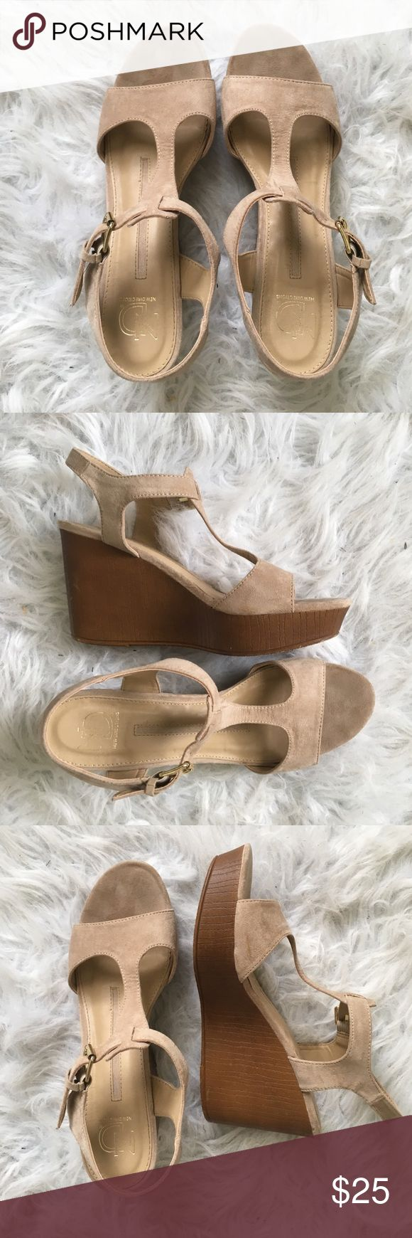 Beige Wedges Only worn once for my sorority initiation! Macy's Shoes Wedges