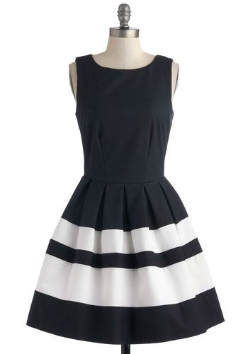 A Dreamboat Come True Dress in Navy - Blue, White, Stripes, Exposed zipper, Pleats, Party, Fit & Flare, Sleeveless, Nautical, Summer