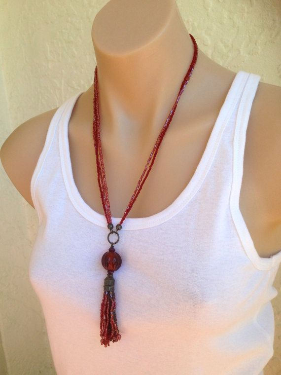 Tassel necklace Red amber necklace Amber by Handmadewithlovebuys