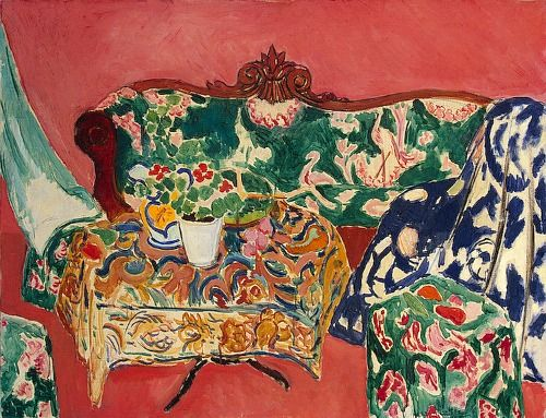 Henri Matisse — a riot of pattern against a lovely persimmon-colored background.