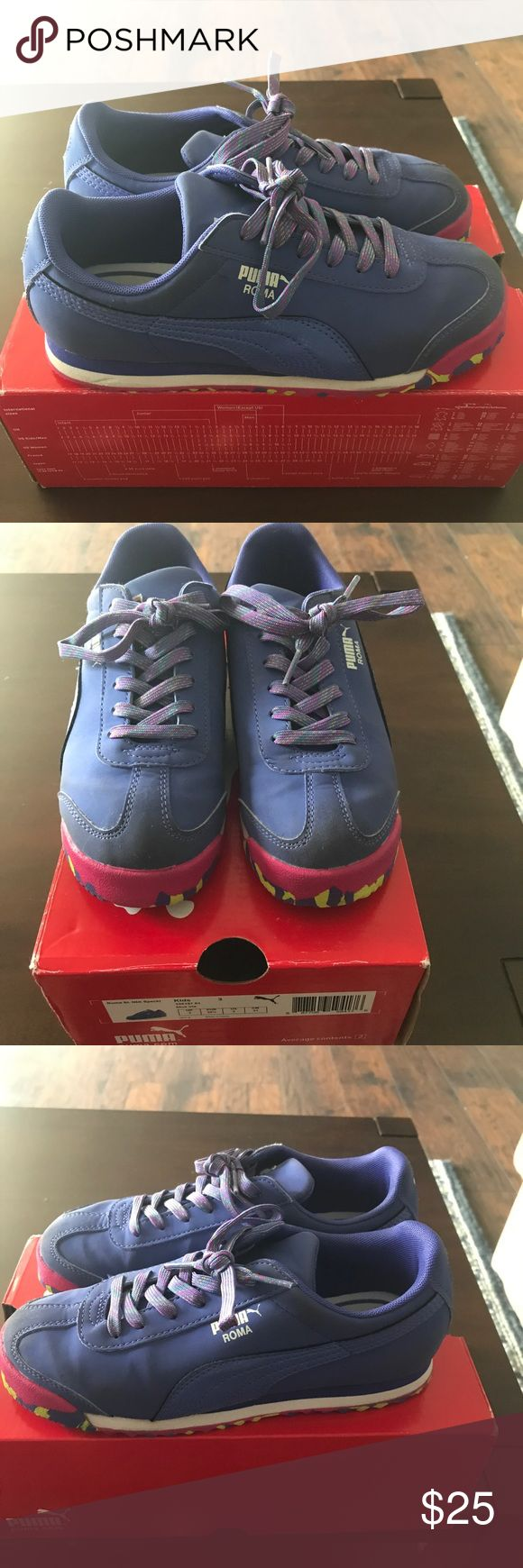 "Preschool puma Roma sneakers""fruity pebble"" I'm selling a used pair of Puma Roma's. They are a preschool size 3. They have been worn a few times but are in good condition as you can see from the pictures. If you have any questions please ask. All reasonable offers accepted. Puma Shoes Sneakers"