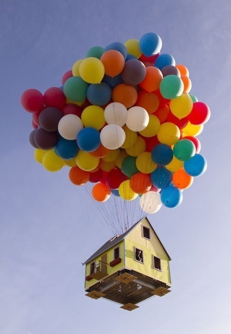 This is a real house with baloons, it is in the Guiness Book Of World Records.