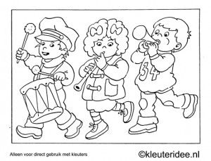 Kleurplaat optocht, thema muziek, kleuteridee , Preschool coloring, parade with music.