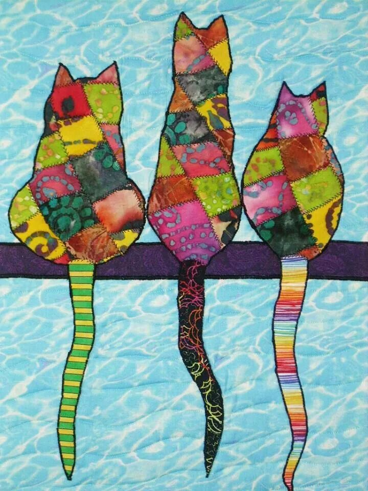 "3 Cats Art Quilt. 19"" x 15"". Ready to hang. SOLD."