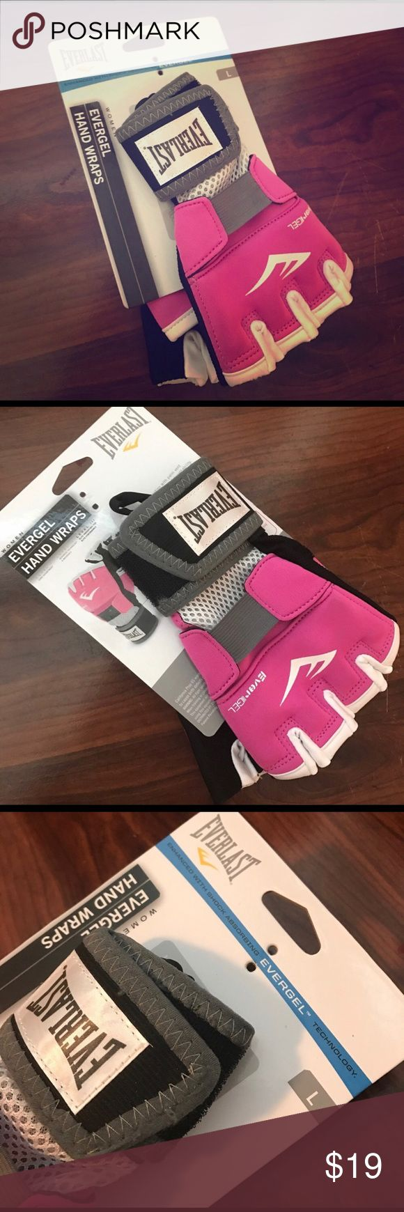 Everlast pink women's ever gel hand wraps New. never used. Size large. Great for wearing under boxing gloves. Good replacement for regular hand wraps. [The are new but sold to another posher. She decided she didn't like them. Sadly when sending them back to me she kept the tag. I pulled them out of the box to ensure that they were still in-tacked and have since kept them in their box] everlast Accessories Gloves & Mittens