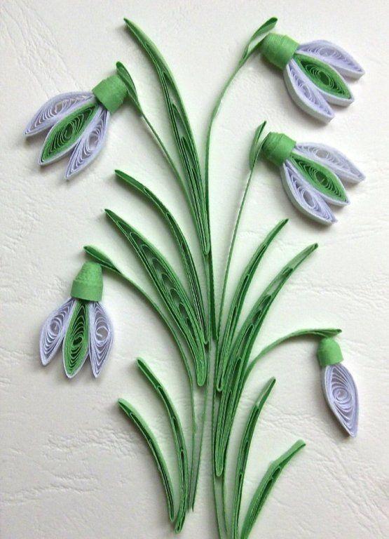 Цветы, квиллинг открытка подснежник
