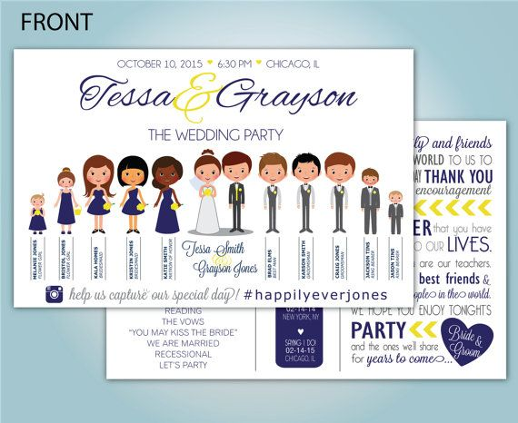 I found this really awesome Etsy listing at https://www.etsy.com/listing/250556796/custom-people-wedding-program
