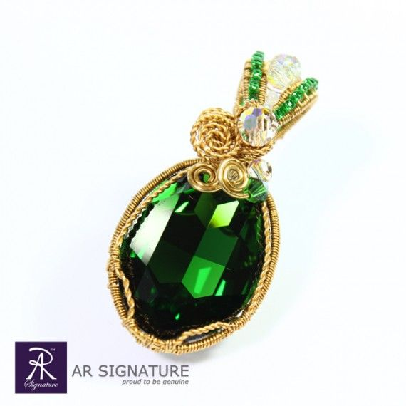 Bells of Ireland, Pendant by AR Signature.  This Refreshing look Pendant are made with Genuine Swarovski Crystal and Gold plated wire from Germany. Fully handmade and design by AR Signature