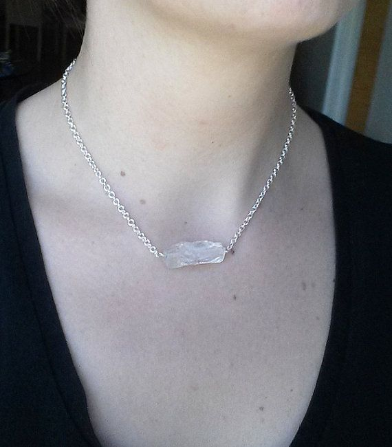 Rock Crystal and Silver Necklace raw quarts by Cicadella on Etsy