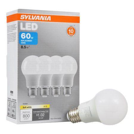 Sylvania LED Light Bulb, 60W Equivalent, A19, Soft White 2700K, 4 Pack