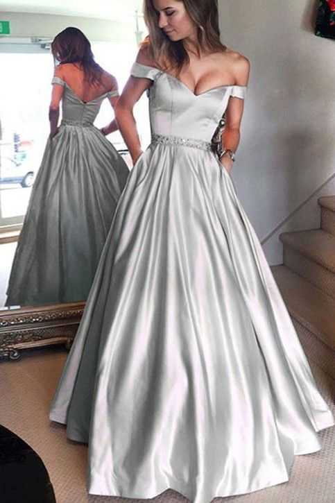 Gray satins off shoulder long prom dress, long formal dress from QPromdress-Handmade itemMaterial:SatinMade to orderColor:Refer to imageProcessing time:15-25 business daysDelivery date:5-10 business daysDress code:E0259AFabric:SatinEmbellishment:Straps:With strapsSleeves:SleevlessSilhouette:A-lineNeckline: Off-shoulderHemline:Floor-lengthBac