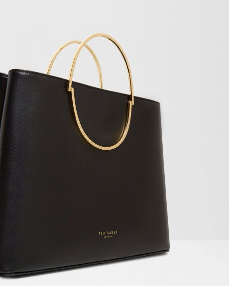 Small leather tote bag - Black | Bags | Ted Baker UK