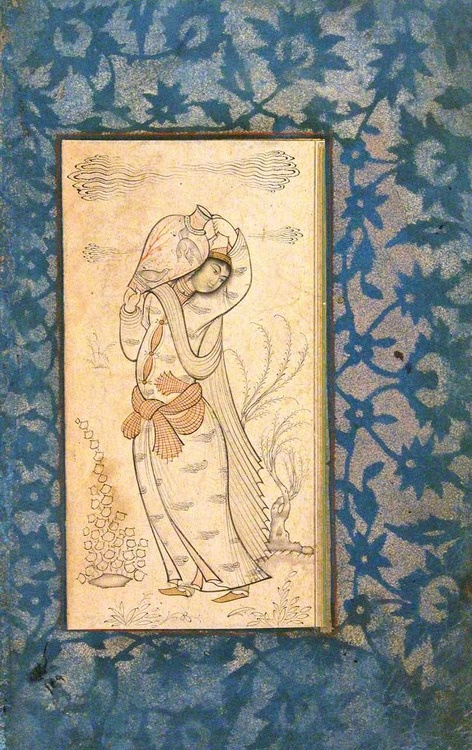 Woman Carrying a Vase, Safavid Persia, 17th century, Iran, Collection of The Metropolitan Museum of Art #miniature #painting #islamic #art