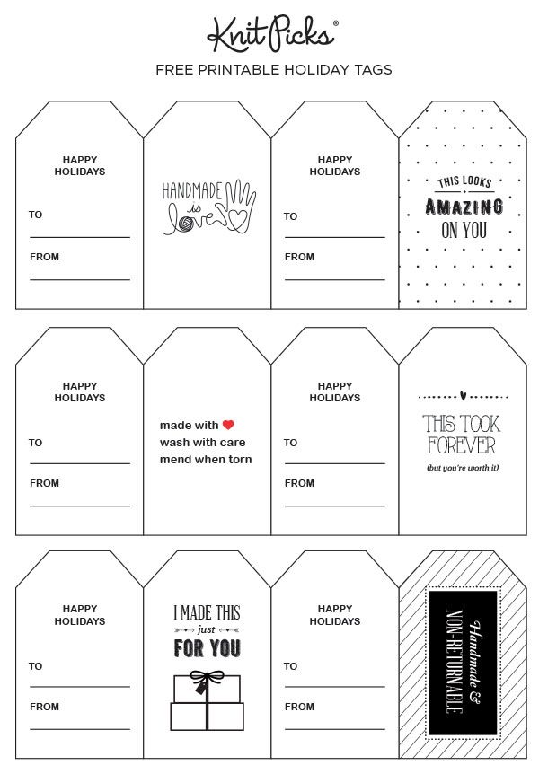Free Holiday Gift Tags for the Crafty Giver