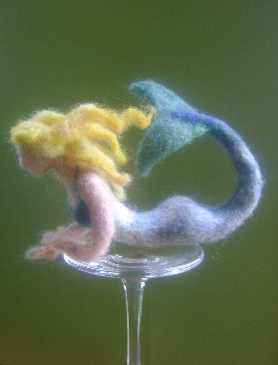 Needle Felted Mermaid - Soft Wool Mermaid Sculpture - Handmade Mermaid
