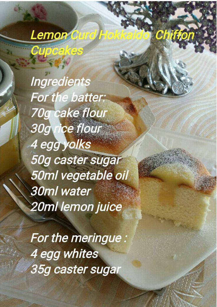 Luvswesavory: Lemon Curd Hokkaido Chiffon Cupcakes