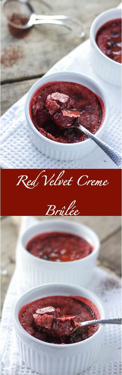 Smooth, creamy chocolate creme brûlée dressed up in red for the holiday