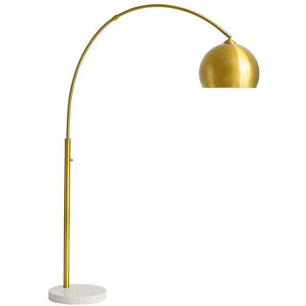 PB Teen Arthur Floor Lamp, Gold ($499) ❤ liked on Polyvore featuring home, lighting, floor lamps, gold lights, pbteen, gold lamp, gold light and gold floor lamp