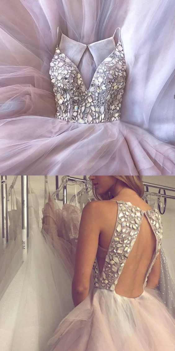 09df441a9a Charming Sparkly Gorgeous Modest Open Back Rhinestones Prom Dresses online