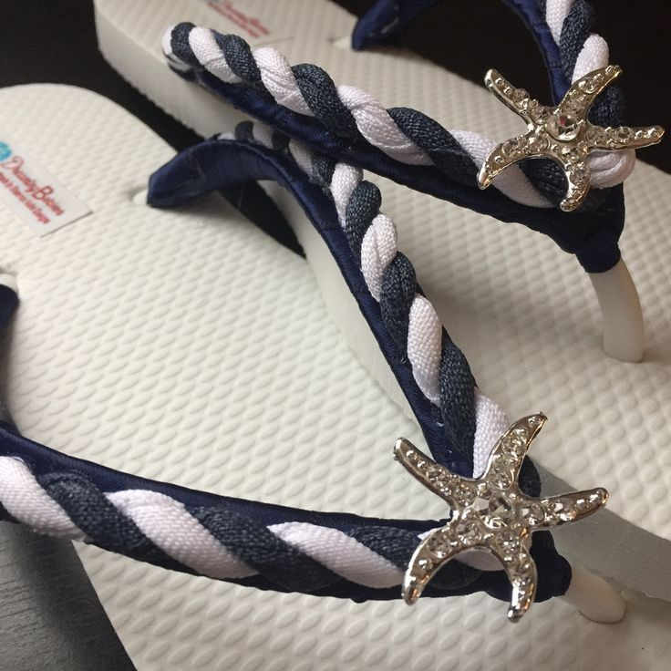 NEW for 2017, the Astrid navy nautical flip flops