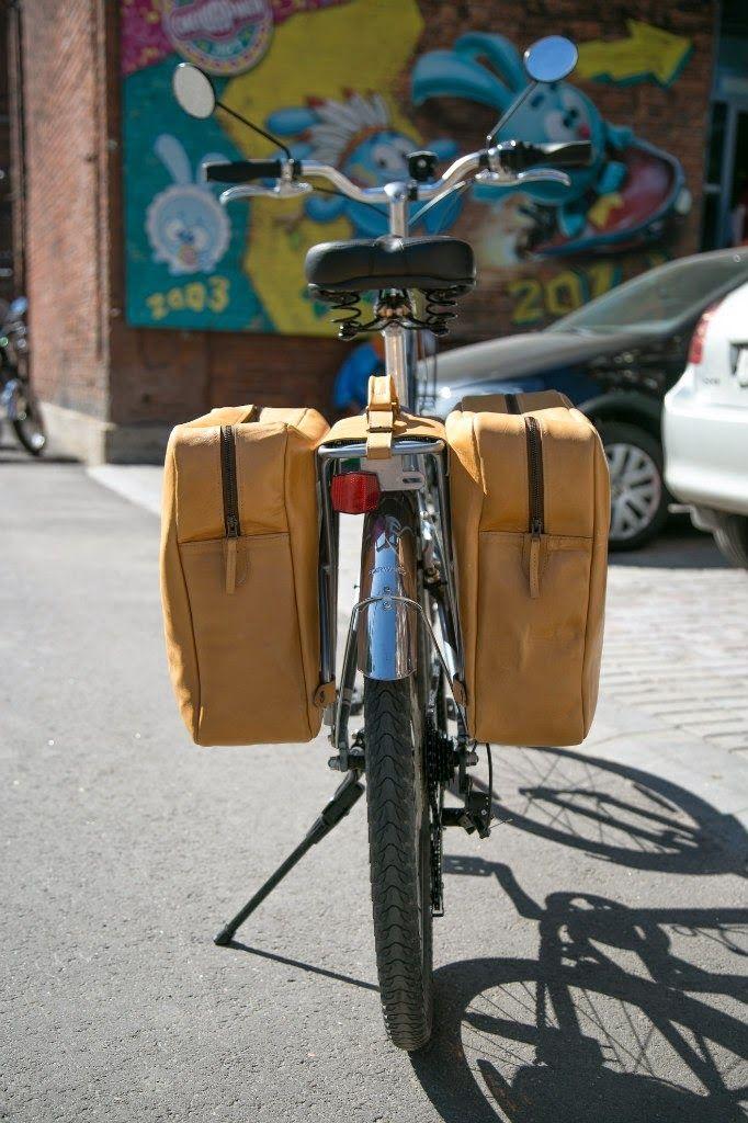 Leather bike rear rack bag, handmade panniers.