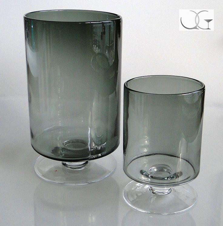 Świecznik szklany Popielaty walec h-34