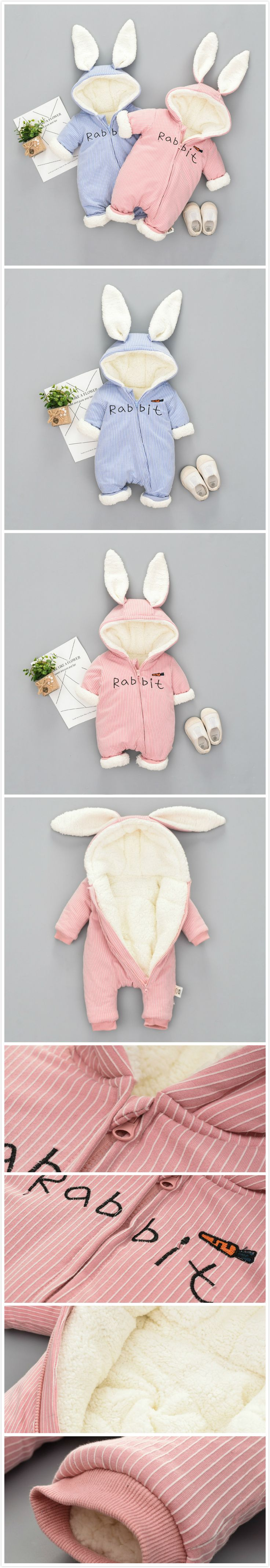 Thicker Rabbit Ears Baby Winter Warm Hooded Jumpsuit